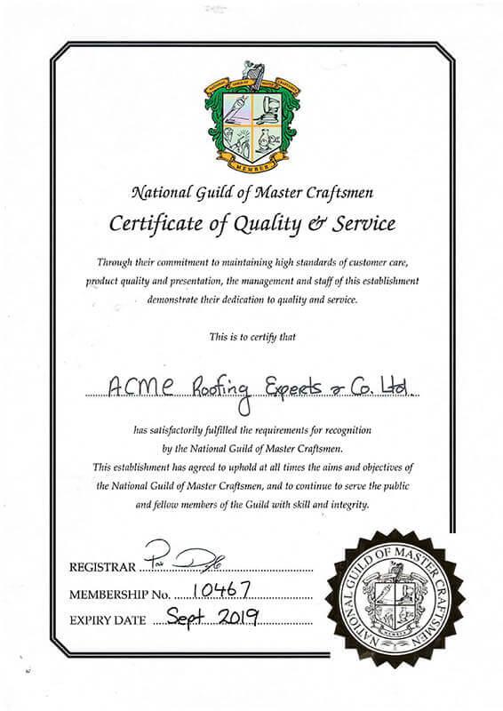 National Guild of Master Craftsmen Certificate September 2019