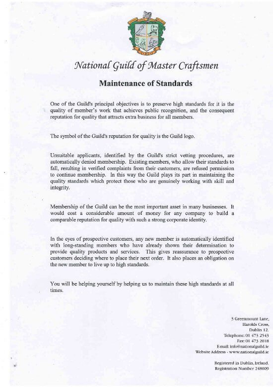 Roofing Experts National Guild of Master Craftsmen Letter